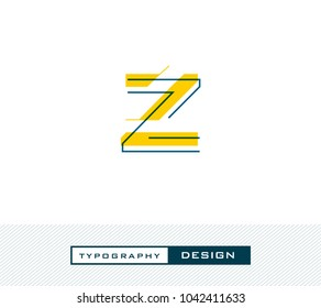 Typography Design Alphabet Z,  Letter Z cut style logo icon vector template.