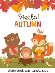"""Hello autumn"" typography design with cute bear, fox, hedgehog, bird, snail cartoon and leaves border illustration."