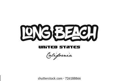 Typography design of long beach california city text word in the United States of America graffitti style logo