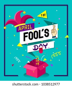Typography design on origami speech buble with jester hat,fingers crossed-April fool's day background design concept.Vector Illustration.