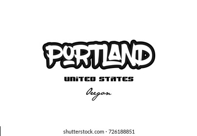 Typography design of portland oregon city text word in the United States of America graffitti style logo