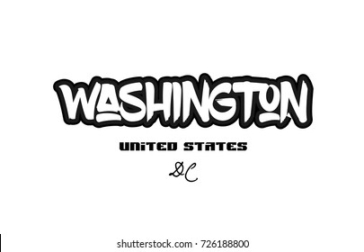 Typography design of washington dc city text word in the United States of America graffitti style logo