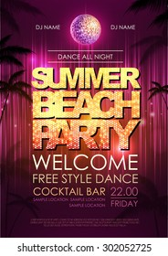 Typography Disco background. Summer beach party