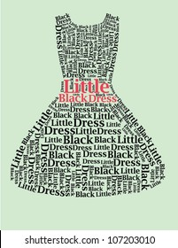 """Typography Dress Design with the message """"Little Black Dress"""""""