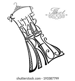 """Typography Dress Design.Silhouette of woman classic little dress from words with hanger.The message """"Little black dress"""".Fashion illustration in vector."""