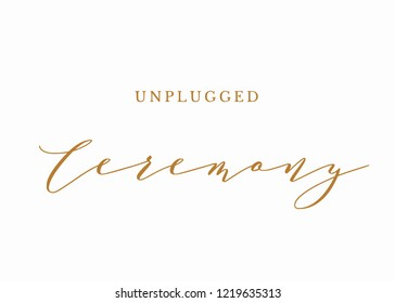Typography gold on white wedding sign text graphic vector for unplugged ceremony