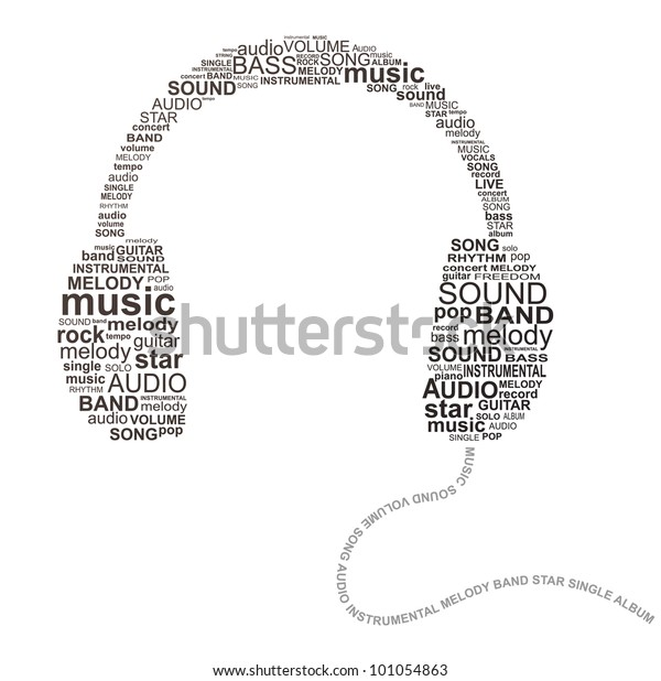 Typography Headphones Music Concept Image Stock Vector