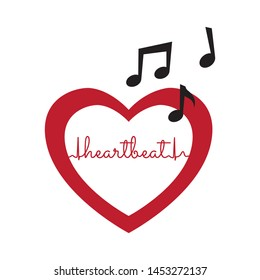 typography heart beat as a part of cardiogram, red heart and music notes