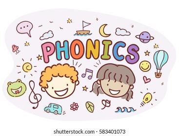 Typography Illustration Featuring Stickman Kids Standing Around the Word Phonics