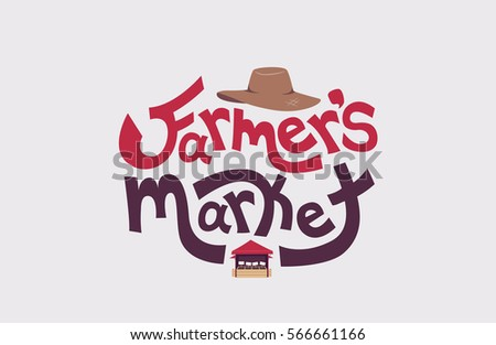 be7859aaa8771 Typography Illustration Featuring the Words Farmers Market Decorated with a Straw  Hat on Top and a Market Stall at the Bottom - Vector