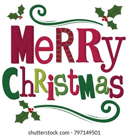 Typography Merry Christmas word