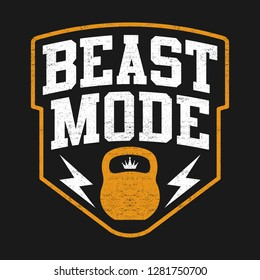 Typography With Motivation Quote Beast Mode And Kettlebel
