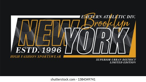 Typography New York Brooklyn for t-shirt printing, vector image design
