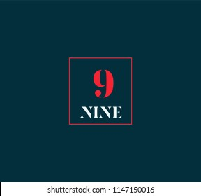 Typography nine, Digit 9 logo icon vector template.
