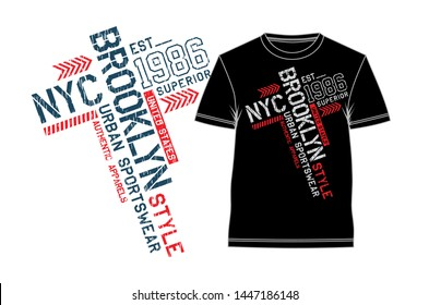 Typography NYC Brooklyn t shirt design, vintage artistic art, vector illustration