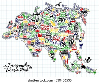 Typography poster.  Eurasia map.Eurasia travel guide.