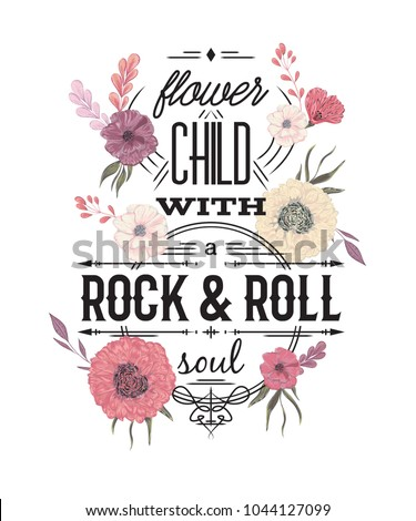 Typography Poster Flowers Watercolor Style Inspirational Stock