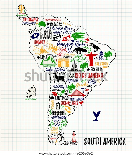 Map Of America Travel.Typography Poster South America Map South Stock Vector