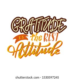 Typography poster for Thanksgiving Day. Hand drawn text with colorful decor. Lettering for card, banners, invitations. Vector illustration.