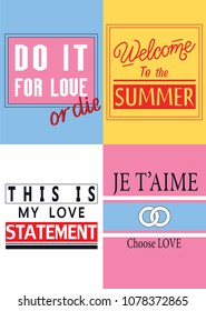 Typography  posters, slogans set for t shirt embroidery print, graphic design for tee.