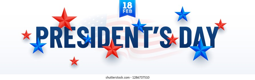 Typography of President's Day decorated with stars in USA flag color on white background. Header or banner design.