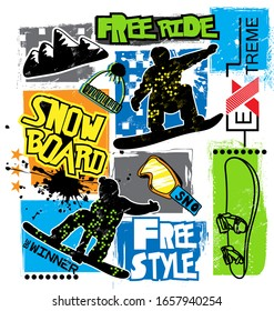 typography print with boy on snowboards. Extreme background for graphic tees, kids wear, textile and more