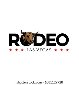 Typography Rodeo logo with bull illustration.