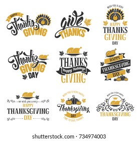 Typography set for Thanksgiving day. Labels, logo, lettering design. Isolated on white background. Usable for banners, greeting cards, posters etc. Vector illustration.