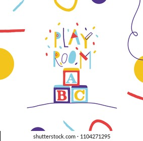 Typography sign for kids play room in cartoon style.