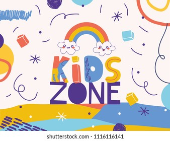 "Typography sign ""kids zone"" in cartoon style on playful background."