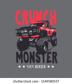 typography slogan with 4x4 wheels off road truck illustration