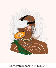 Typography slogan with african aborigine in VR headset, vector, illustration