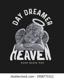 typography slogan with antique baby angel sleeping,vector illustration for t-shirt.
