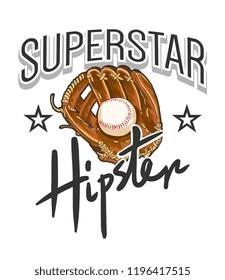 typography slogan with baseball glove illustration