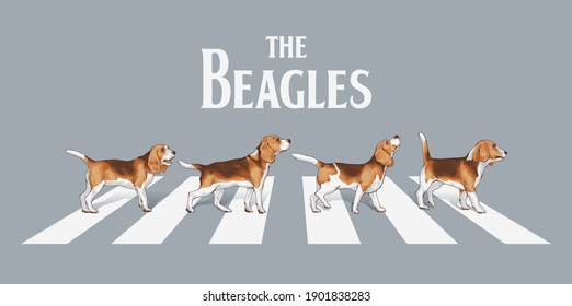typography slogan with beagle dogs walk on the street  ,vector illustration for t-shirt.