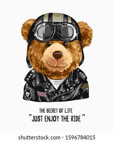 typography slogan with bear toy in biker costume illustration