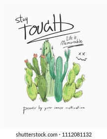 typography slogan with a bunch of cactus illustration