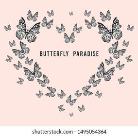 typography  slogan butterfly heart illustration art