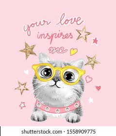 typography slogan with b/w cute cat in glasses and glitter stars illustration
