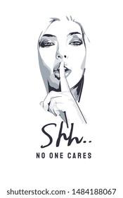 typography slogan with b/w girl shh illustration