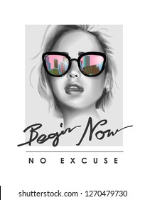 typography slogan with b\u002Fw girl in sunglasses illustration