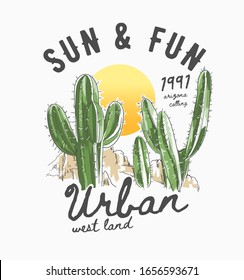 typography slogan with cactus and sunset illustration