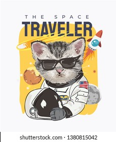 typography slogan with cartoon cat in astronaut costume illustration