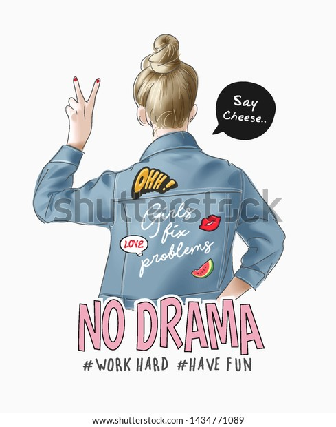 typography slogan with cartoon girl in denim jacket and cute icons illustration