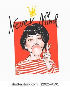 typography slogan with cartoon girl in stripe tee illustration