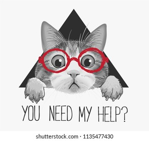 typography slogan with cat in glasses illustration