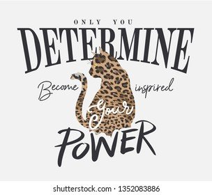 typography slogan with cat silhouette on leopard skin illustration