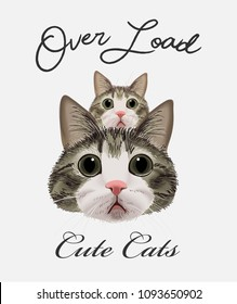 typography slogan with cats illustration