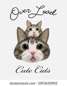 typography slogan with cats illustration