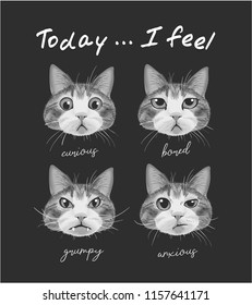 typography slogan with cat's moods illustration